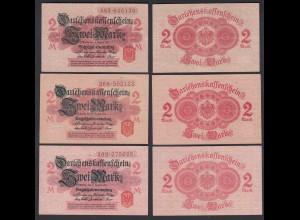 Darlehnskassenschein 3 Stück á 2 MARK 1914 Ro 52c aXF (2-) (26162