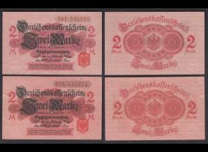 Darlehnskassenschein 2 Stück á 2 MARK 1914 Ro 52c aUNC (1-) (26163