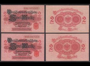 Darlehnskassenschein 2 Stück á 2 MARK 1914 Ro 52c UNC (1) (26164