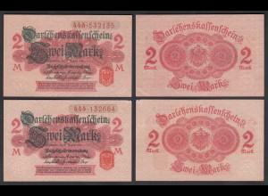 Darlehnskassenschein 2 Stück á 2 MARK 1914 Ro 52c aUNC (1-) (26165