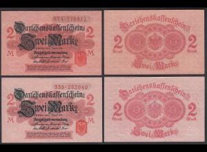 Darlehnskassenschein 2 Stück á 2 MARK 1914 Ro 52c aUNC (1-) (26166