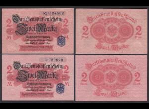Darlehnskassenschein 2 Stück á 2 MARK 1914 Ro 52d UNC (1) Serie 6 + 32 (26170