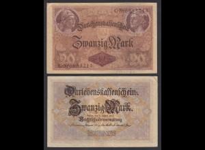 Darlehnskassenschein 20 MARK 1914 Ro 49b 7-stellig VF (3) (26178