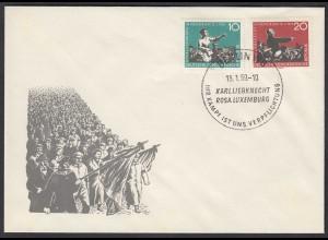 DDR FDC Todestag Rosa Luxemburg + Liebknecht Mi.674-75 Stempel 15.1.1959 (26203