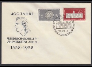 DDR FDC 400 J. Schiller Universität Mi.647-48 Stempel 19.8.1958 (26204