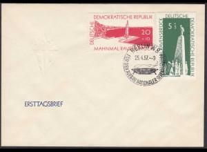 DDR FDC Nationale Gedenkstätten Mi.566-67 Stempel 25.4.1957 (26208