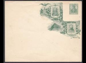 DR 5 Pfg. Germania Ganzsache PU grün Friedrich I + Wilhelm II 1906 (26253