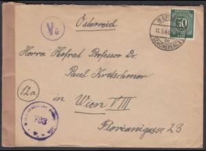 Alliierte Besatzung Brief 1948 Zensur Berlin Schöneberg - Wien EF Mi.932 (26260