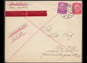 Deutsches Reich 1937 Eilboten Brief Leipzig N14 nach Köln Mif Hindenburg (26263