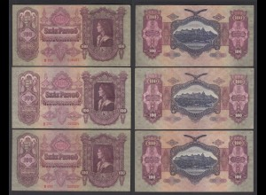 Ungarn - Hungary 3 Stück á 100 Pengo Banknote 1930 Pick 98 VF (3) (26266