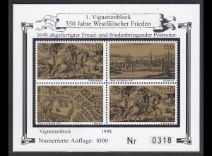 Vignettenblock 350 Jahre Westfälischer Frieden 1998 (26267