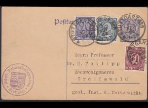 1922 Stuttgart - Greifswald Infla Dienst Ganzsache mit Zusatz Frankatur (26274