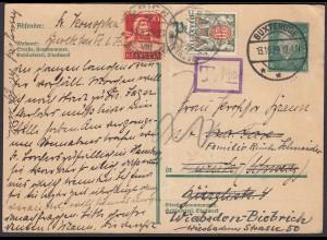 1929 Buxtehude Postkarte über die Schweiz mit Taxierung nach Biebrich (26275