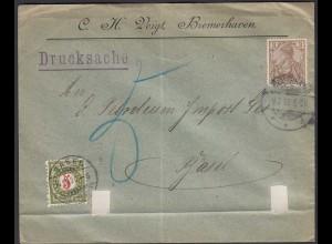 1900 Drucksache 3 Pfg. Germania Reichspost - Basel Schweiz mit Taxierung (26277