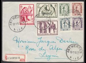 Belgien - Belgium Mi. 1049-53 auf R-Brief Antwerpen - Leysin (26282