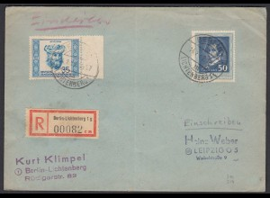 DDR 1952 R-Brief Berlin-Lichtenberg - Leipzig mit Mi. 310 + 314 (26283