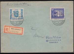 DDR 1952 R-Brief Berlin-Lichtenberg - Leipzig mit Mi. 306 + 314 (26284