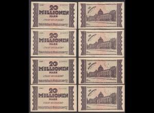 Düsseldorf Stadt 4 Stück á 20 Millionen Mark 1923 Notgeld Reihe 1,2,3,4 (26302