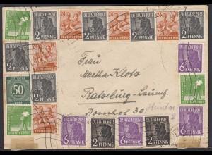 Alliierte Besetzung Gemeinschaftsausg. 10-fach-Frankatur 1948 Hamburg-Ratzeburg