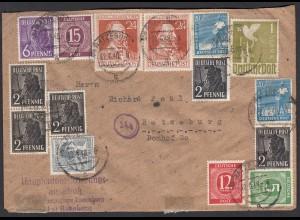 Alliierte Besetzung 10-fach-Frankatur 1948 Ortsbrief Ratzeburg (26311