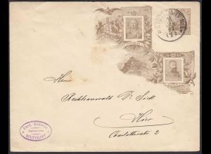 DR 3 Pfg. Germania Ganzsache PU braun Friedrich I + Wilhelm II 1906 (26313