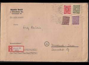 Alliierte Besetzung 1945 R-Brief Mif Behelfs R-Zettel Glaugau - Mettlach (26331