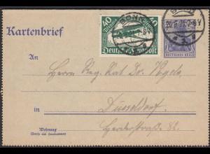 Kartenbrief 1921 Ganzsache 20 Pfg.Germania Zusatzfr.Mi.112 FP Marke (26340
