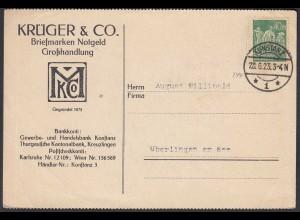 Briefmarken Reklame Karte 1923 Konstanz Infla Mi 244 EF - Überlingen (26341