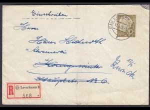 BRD Bund 1956 Heuss 70 Pfg. EF R-Brief Leverkusen 3 als Retourbrief (26351