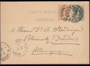 Belgien - Belgium ante Ganzsache 1885 mit Zusatzfrankatur nach Dresden (26354
