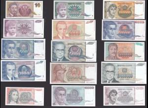 Jugoslawien - Yugoslavia 15 Stück Banknoten FAST alle UNC (26357