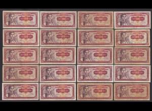 Jugoslawien - Yugoslavia 20 Stück á 100 Dinara 1955 Pick 69 (26360