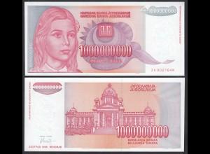 Jugoslawien - Yugoslavia 1-Milliarde (Billion) Dinara 1993 Pick 126 aUNC (1-)
