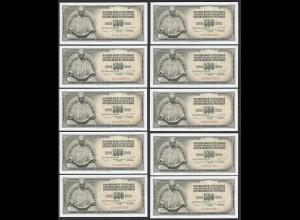 JUGOSLAWIEN - YUGOSLAVIA 10 Stück á 500 Dinara 1978 Pick 91a UNC (1) (89047