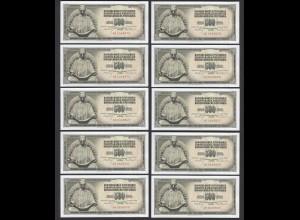 JUGOSLAWIEN - YUGOSLAVIA 10 Stück á 500 Dinara 1970 Pick 84b UNC (1) (89048