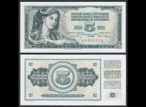 Jugoslawien - Yugoslavia 5 Dinara Banknote 1968 Pick 81a UNC (1) (26399