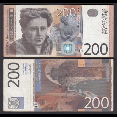 Jugoslawien - Yugoslavia 200 Dinara Banknote 2001 F/VF (3/4) Pick 157 (26403