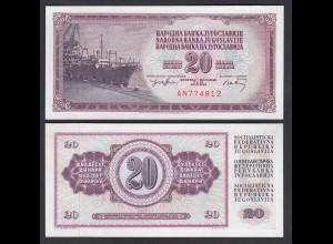 Jugoslawien - Yugoslavia 20 Dinara Banknote 1974 Pick 85 UNC (1) (26406