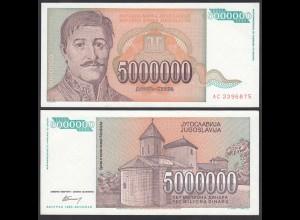 Jugoslawien - Yugoslavia 5 Millionen Dinara 1993 Pick 132 UNC (1) (26419