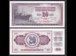 Jugoslawien - Yugoslavia 20 Dinara 1974 Pick 85 mir Perforation UNC (26421