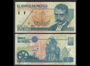 Mexiko - MEXICO - 10 Pesos Banknote 1992 Serie Q Pick 99 aVF (3-) (26444
