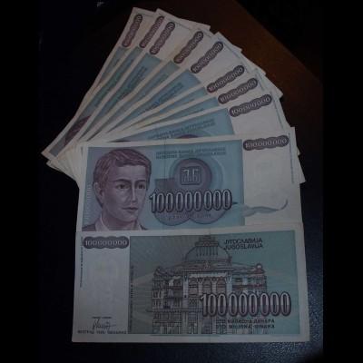 Jugoslawien - Yugoslavia 10 Stück á 100-Millionen Dinara 1993 Pick 124 ca.VF (3)