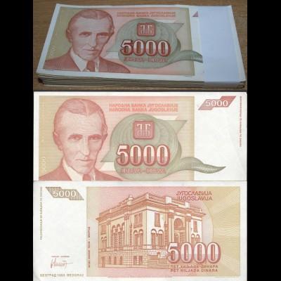 Jugoslawien - Yugoslavia Bundle 100 Stück 5000 5.000 Dinara 1993 Pick 128