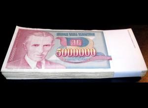 Jugoslawien - Yugoslavia Bundle 100 Stück 5-Millionen Dinara 1993 Pick 121