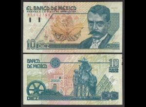 Mexiko - MEXICO - 10 Pesos Banknote 1992 Serie R Pick 99 VF (3) (26446