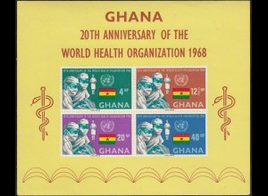 Ghana 1968 S/Sheet Anniversary of WHO WORLD HEALTH ORGANIZATION Block MNH