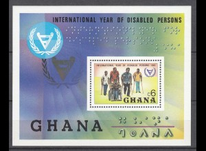 Ghana 1982 S/Sheet International Year of Disabled Persons Braille Health MNH **
