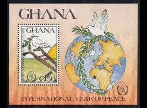 GHANA 1987 INTERNATIONAL YEAR OF PEACE S/Sheet MNH ** (26486