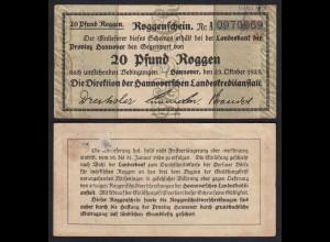 Hannover Roggenschein 20 Pfund Roggen Landeskreditanstalt 1923 (26496