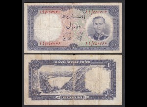 PERSIEN - PERSIA - IRAN - 10 RIALS (1958) Pick 68 VG (5) Schah Reza (26543